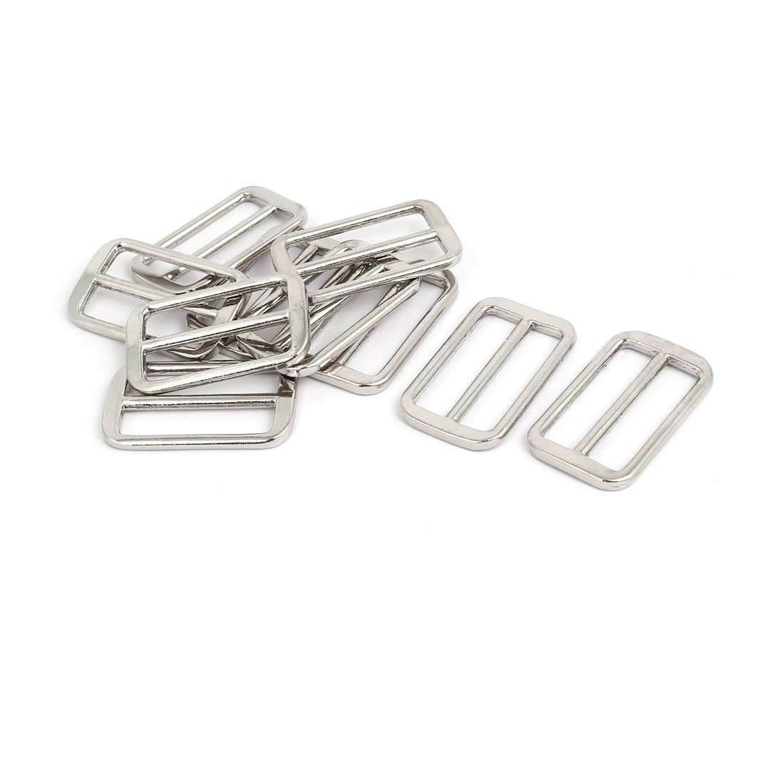 uxcell 48mmx29mmx3.5mm Adjustable Strap Slider Suitcase Bag Fitting Silver Tone 10pcs