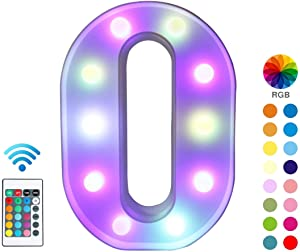 Pooqla Colorful LED Marquee Lights with Remote – Light Up Marquee Letter Signs – Party Bar Letters with Lights Decorations for The Home - Multicolor O