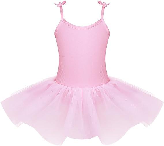 IEFIEL Vestido Maillot de Ballet Danza con Tutú Falda Sin Manga ...