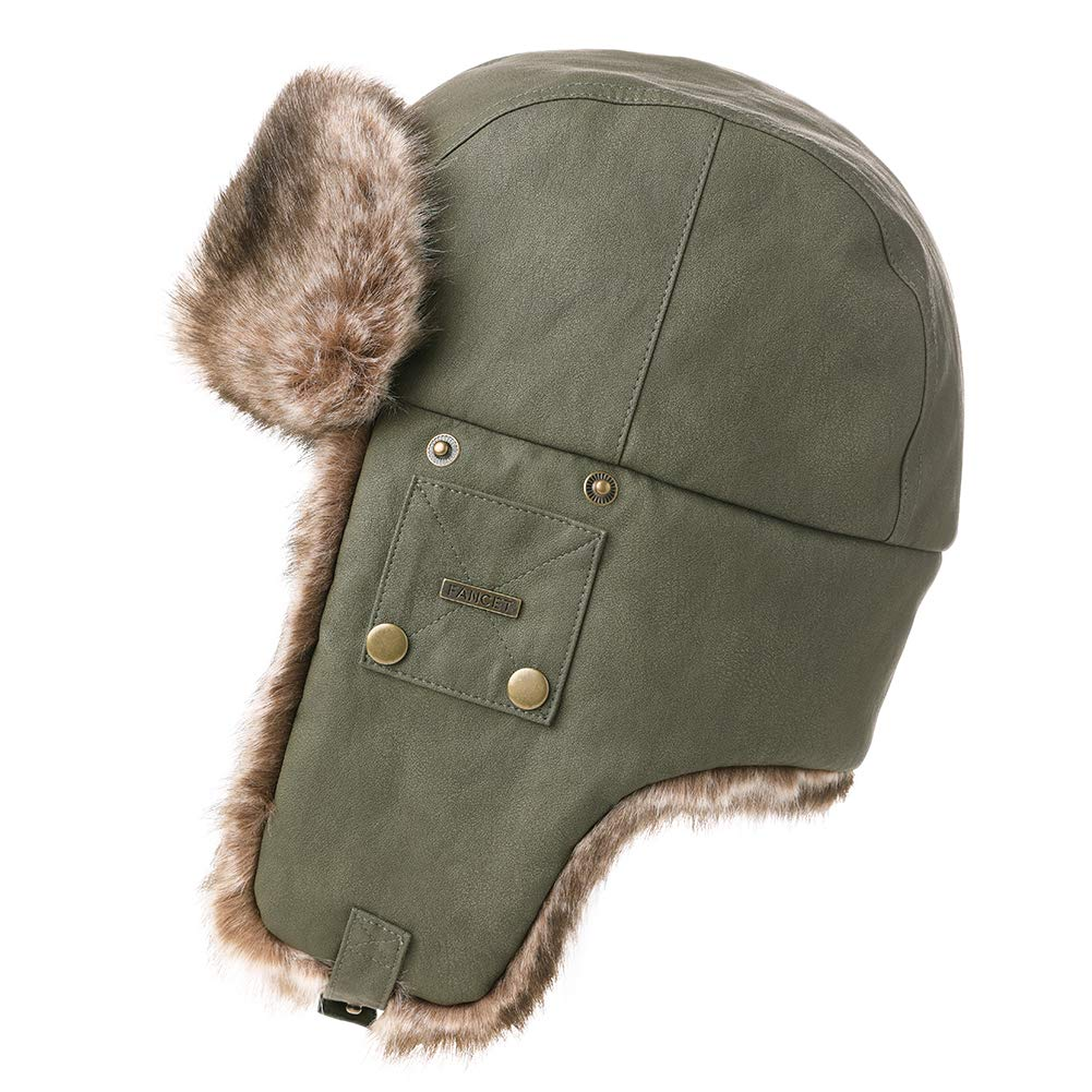 Amazon.com   Mens Womens Waterproof Faux Fur Hunting Bomber Trapper Flaps Winter  Cap Ushanka Russian Hat Army Green   Sports   Outdoors bb1a58de2d13