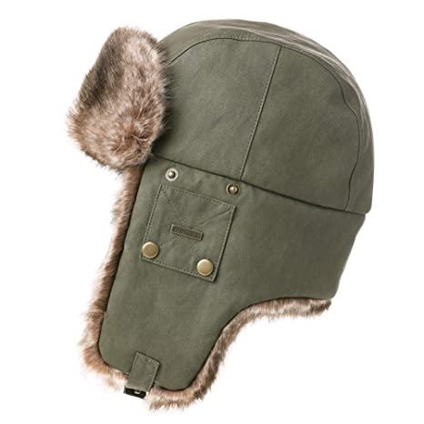 3418c0b6666710 Mens Womens Waterproof Faux Fur Hunting Bomber Trapper Flaps Winter Cap  Ushanka Russian Hat Army Green