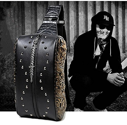 penao Solo diagonal bolso hombro Gold pecho doble de bolso bolsa masculino Cruz Dragon qqRwrn6pdf