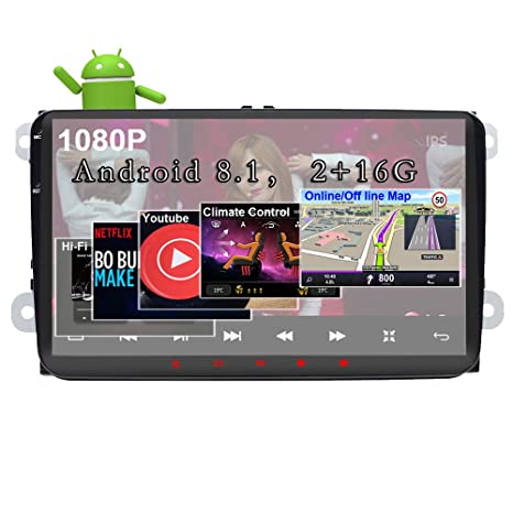Android 8 1 Car Stereo for Volkswagen VW 2+16G 9inch with Canbus GPS  Navigation Head Unit Quad Cord Bluetooth OBD WiFi Mirror Link Touch Screen  Car