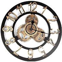 Gigicloud Retro 3D Wall Clock Industrial Style Vintage Clock Steampunk Gear Wall Home Decoration Gold 32CM