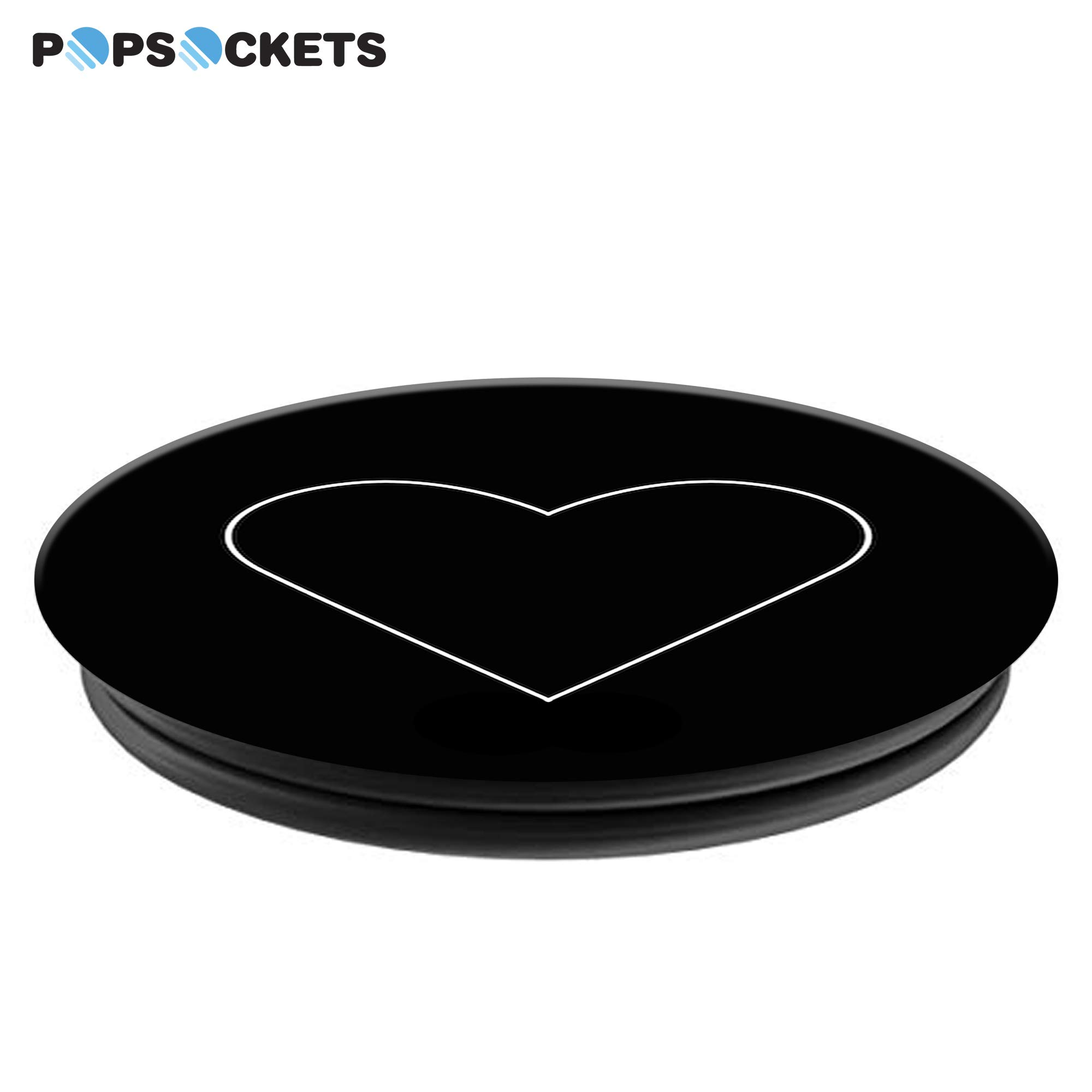 PopSockets: Collapsible Grip & Stand for Phones and Tablets - White Heart Black by PopSockets (Image #4)