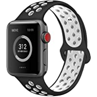 AdMaster Compatible for Apple Watch Bands 38mm 40mm 42mm 44mm, Soft Silicone Replacement Wristband Compatible for iWatch Apple Watch Series 1/2/3/4