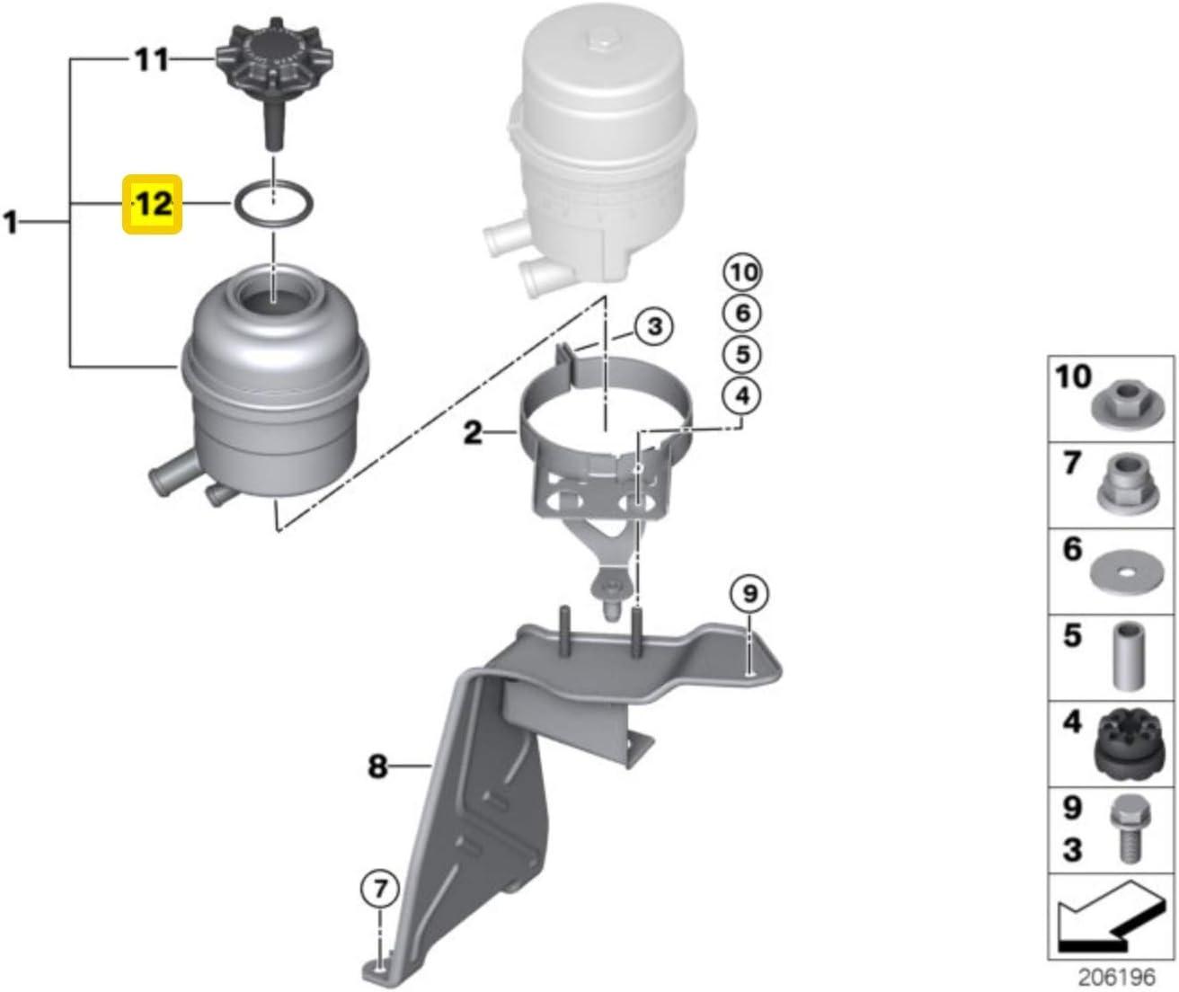 GENUINE BMW Mini Power Steering Reservoir Cap Seal Gasket O-Ring 32411128333