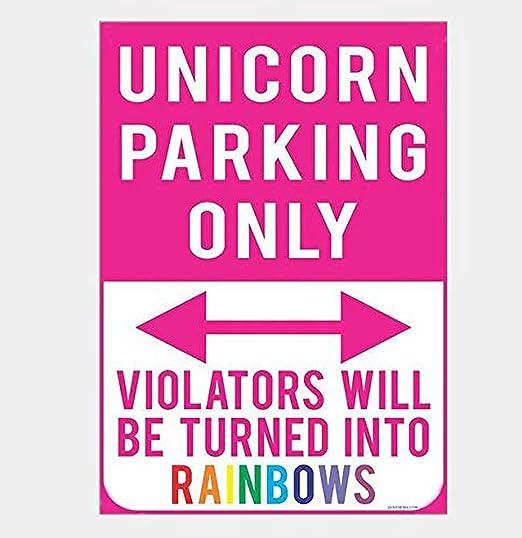 SALWON Unicorn Parking Only Souvenir -Cartel De Chapa ...