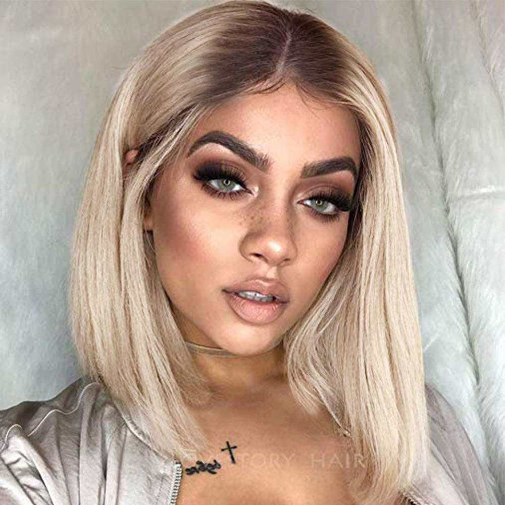 Amazon Com Lanova Short Hair Wigs Ombre Synthetic Wig Ombre Brown Blonde Cheap Wigs For Afros Short Bob Wigs Middle Part Lanova 103 Beauty