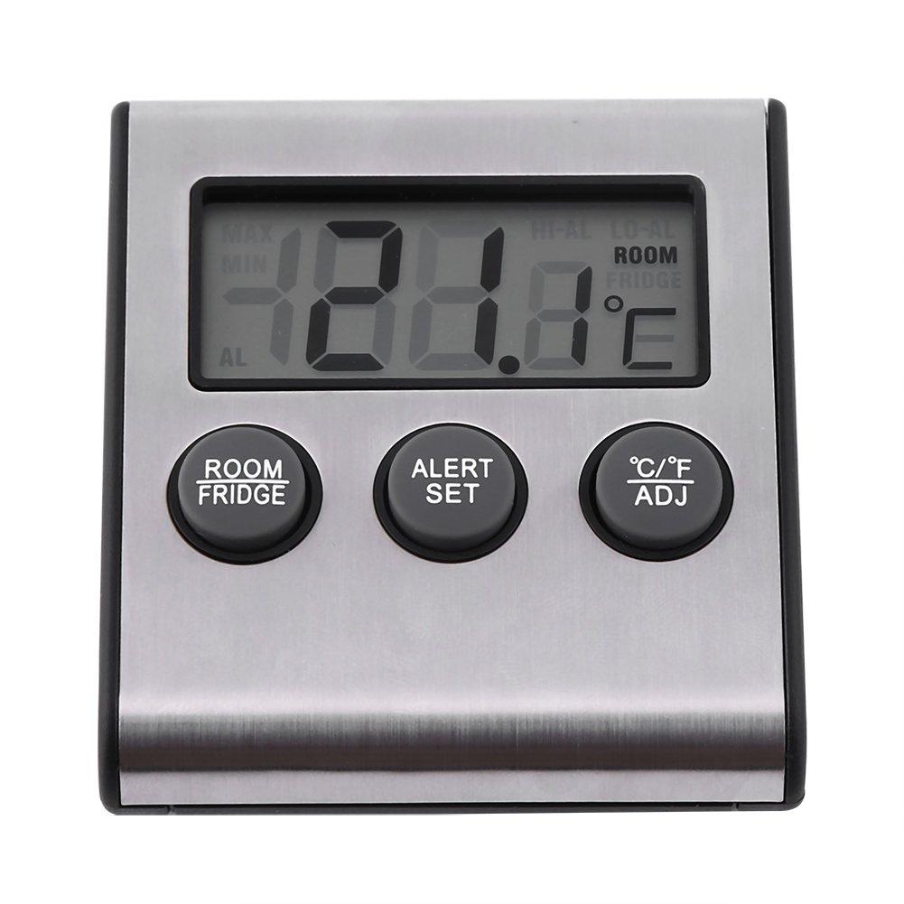 Digital Refrigerator Thermometer LCD Display Sensor Temperature Monitor with High Low Temperature Waring Alarm Zerodis