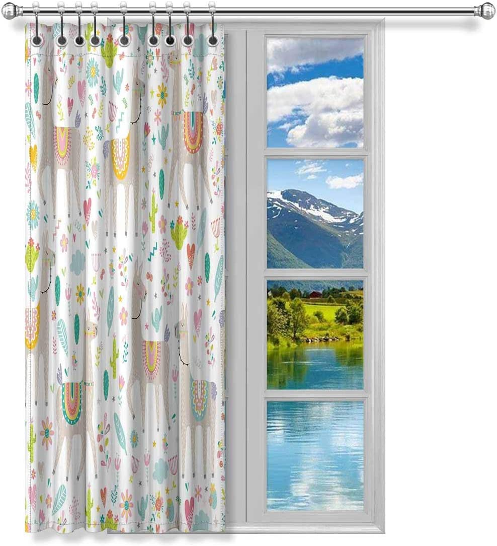 InterestPrint Funny Hippie Llama Cactus and Flower Blackout Room Darkening Curtains Window Panel Drape