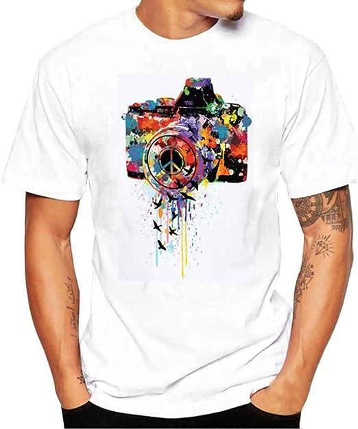 Qiusa Fotografía de cámara para Hombre Camiseta de impresión 3D Camiseta de Manga Corta de Verano Causal ...