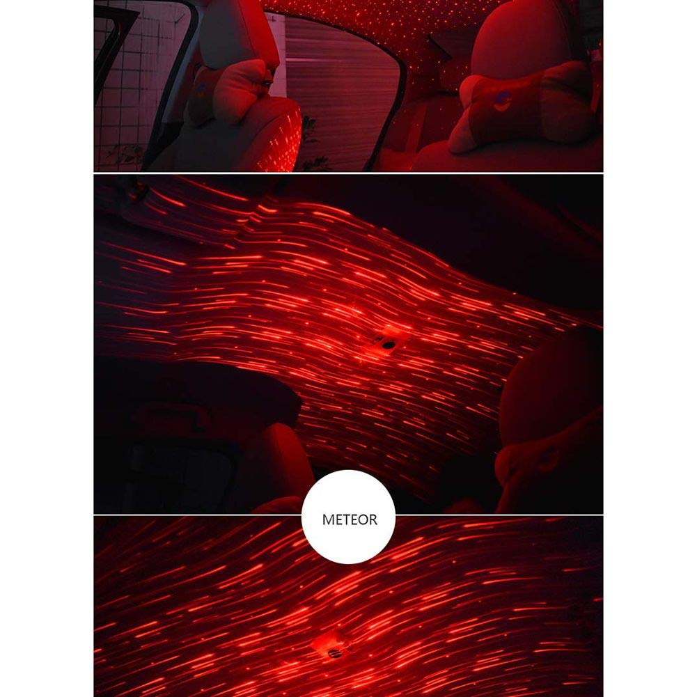 Facaily Car Interior Decoration Atmosphere Lamp LED Remote Control Romantic Neon Light Auto Roof Starry Projector Lights