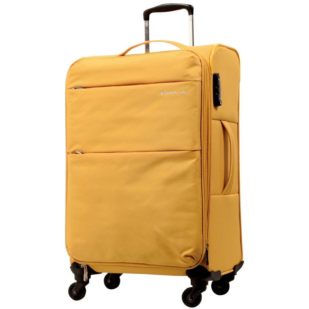 [グリフィンランド]_Griffinland TSAロック搭載 スーツケース ソフトタイプ  超軽量 AIR6327(solite) ファスナー開閉式 S型国内国際線機内持込可 5色3サイズ B073TTD484 M(中)型 マスタード マスタード M(中)型