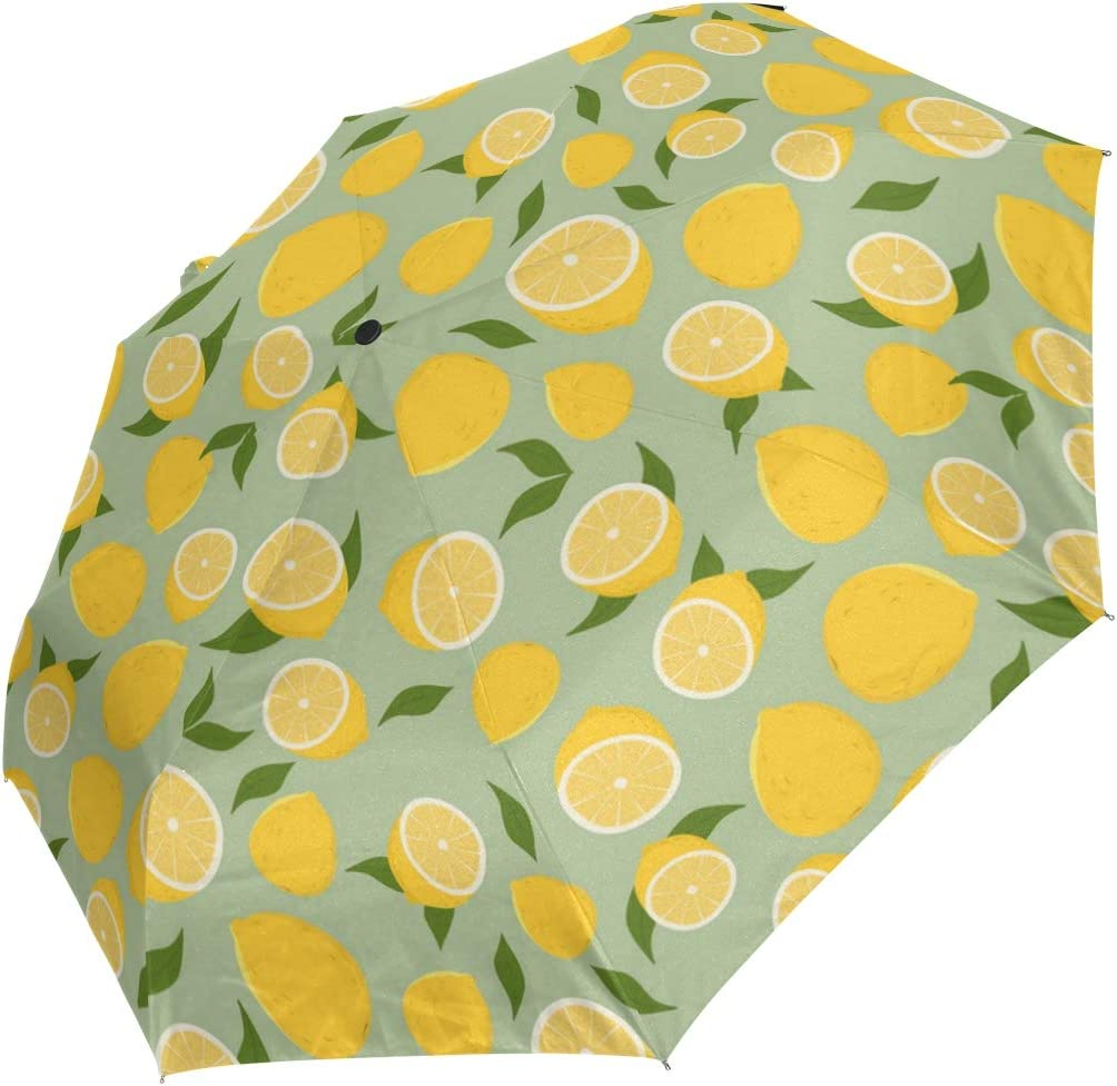 Delicious Yellow Green Lemon fashion print cute Windproof automatic tri-fold umbrella sun UV protection Sun umbrella