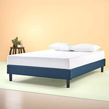 Zinus Bastidor para cama de plataforma tapizado esencial Curtis, Sin necesidad de usar un somier, Sólido soporte de listones de madera, Azul marino, ...