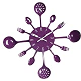 UNIQUEBELLA Metal Kitchen Cutlery Utensil Wall Clock Spoon Fork Home Decor Wanduhr horloge murale Deep Purple