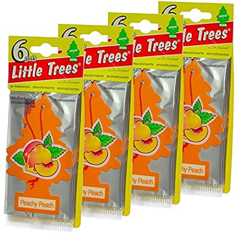 24 Pack Car Freshner 10319 Little Trees Air Freshener Peachy Peach Scent - Single Tree per Package - Little Trees Car