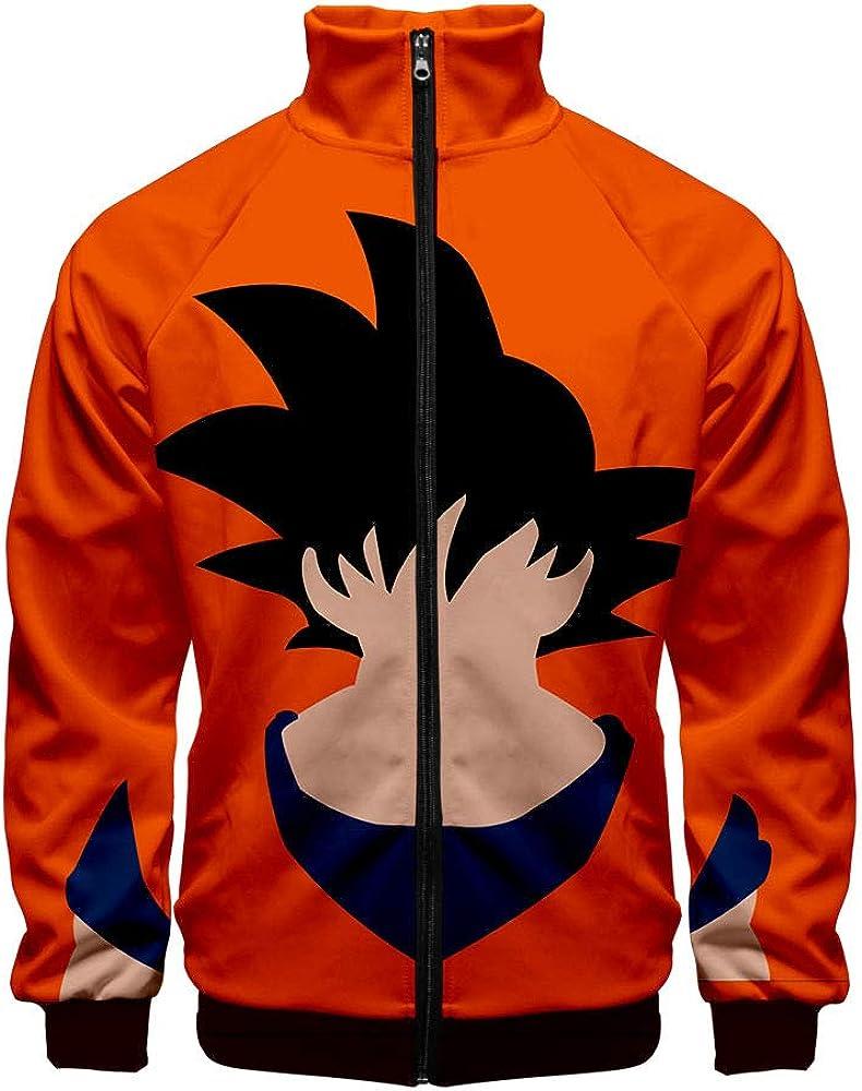 Anime Dragon Ball Goku Sudaderas Hombres 3D Impreso Cuello Alto Chaqueta con Cremallera Outwear Cosplay Disfraz