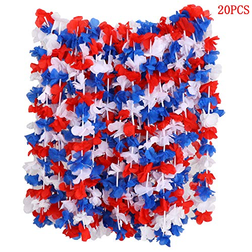 (Pack of 20 Red White and Blue 4th of July Party Hawaiian Lei Luau Flower Necklace Luau Party Supplies)