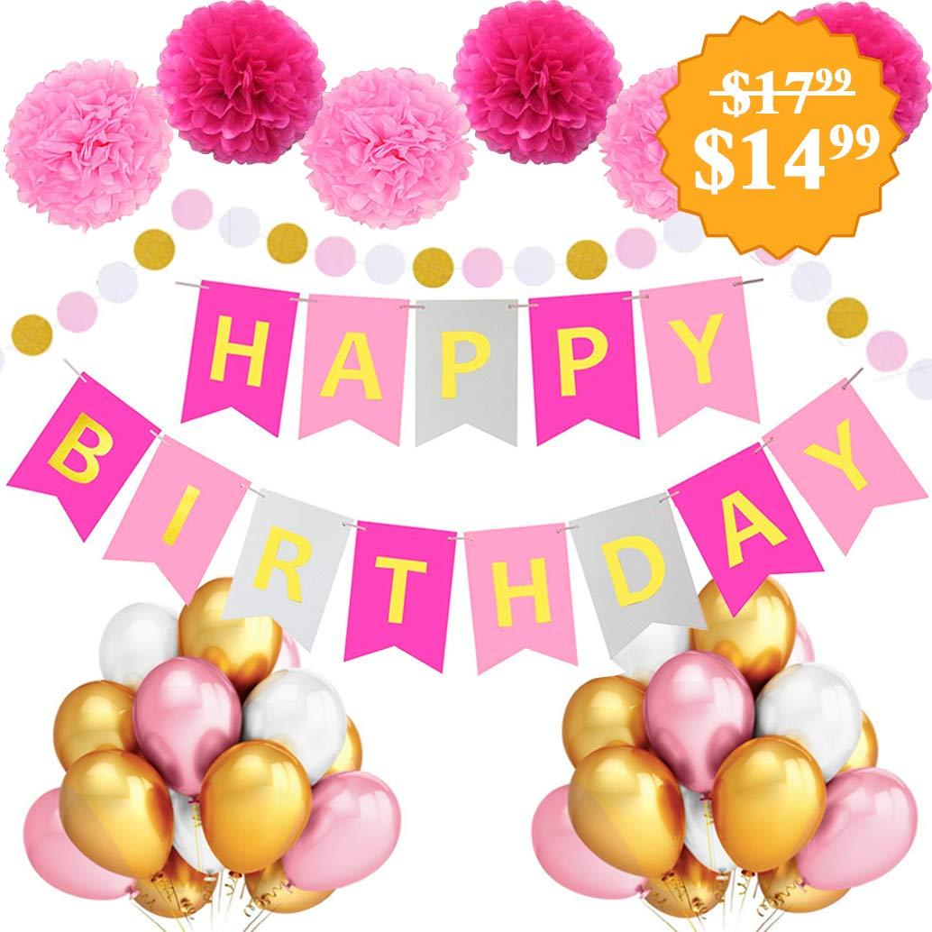 Pancarta de cumpleaños grande para mujer, diseño de pompón ...