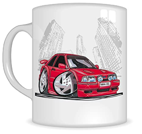 Regalos de Koolart k185-mg dibujos animados de Ford Escort RS Turbo – Caricatura Rojo