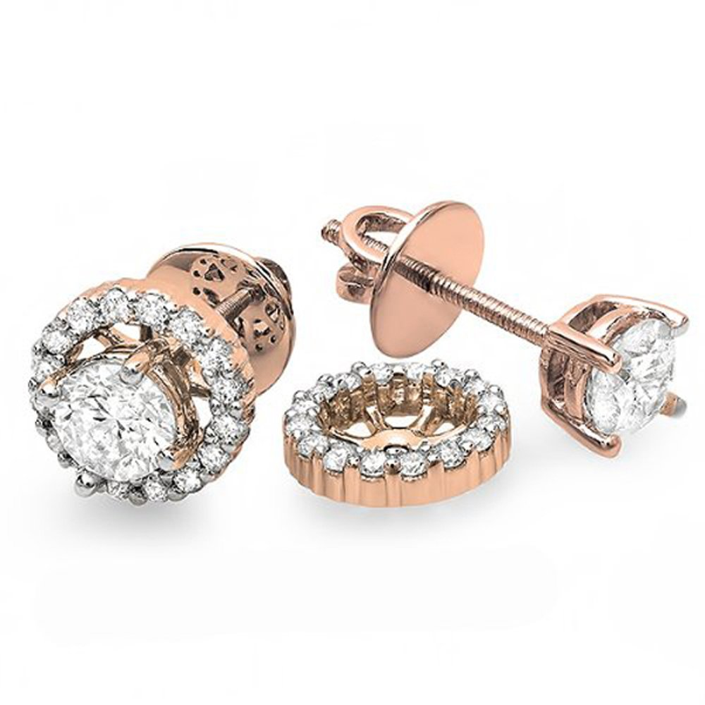 1.00 Carat (ctw) 10K Rose Gold Round Diamond Halo Stud Earrings with Removable Jackets