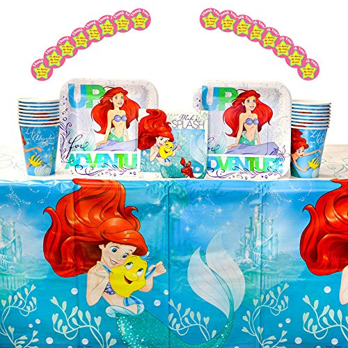 The Little Mermaid Ariel Dream Big Party Supplies Pack for 16 Guests: Stickers, Dessert Plates, Beverage Napkins, Cups, and Table -