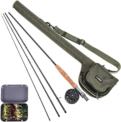 Amazon Com Lixada Fly Fishing Rod And Reel Combo With Carry Bag 20 Flies Premium 9 4 Piece Carbon Fiber Rod With Lightweight Abs Reel Complete Starter Package Fly Fishing