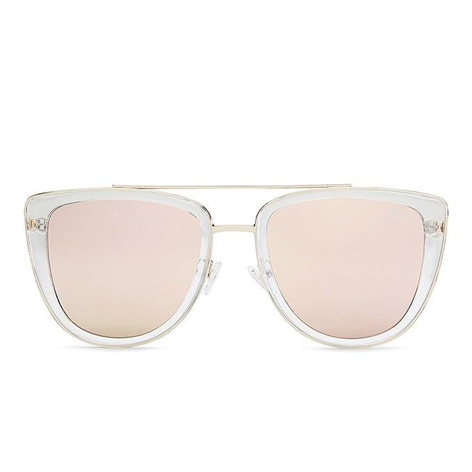307e6bb85f4 Quay Women s Mirrored French Kiss QW-000172-CLR ROSE Gold Cat Eye Sunglasses