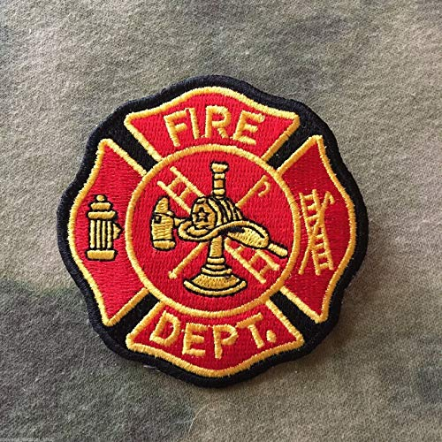 Red, Gold Fire Dept. Maltese Cross Patch (Fire Embroidery Dept)
