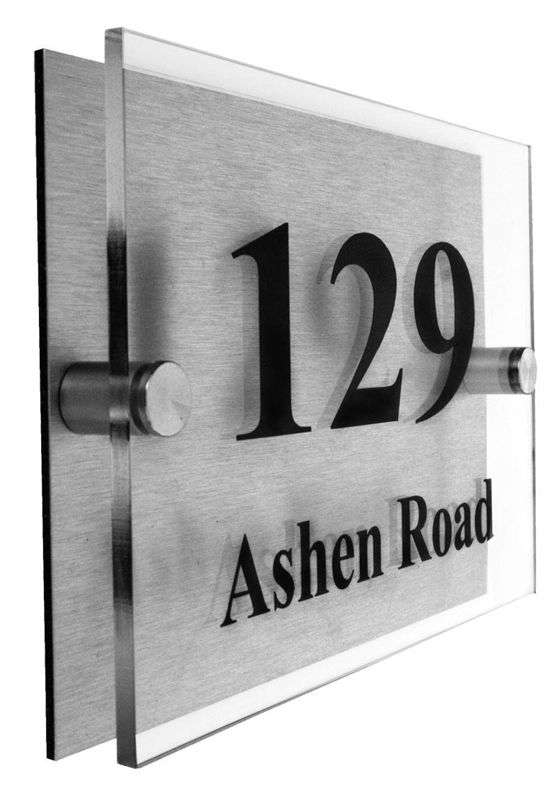 Executive House Number Plaque 2 Part Acrylic | Choice of Fonts Acrylic Master