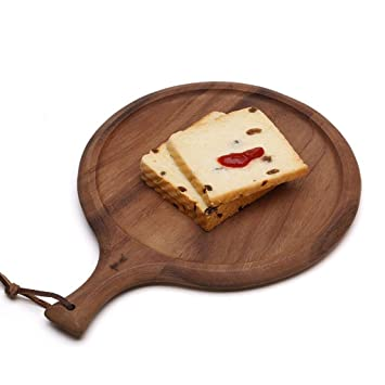 Wddwarmhome Tablero de pan redondo Tablero de la pizza de madera maciza Tablero de la fruta Tablero de corte Cocina Alimento cocido Tablero de tajado ...