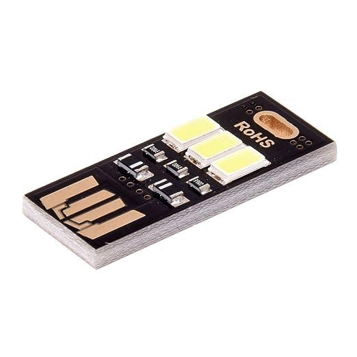 TOOGOO(R) Mini Lampara de tarjeta de bolsillo portatil Luz blanca 3 LED Llavero luz USB