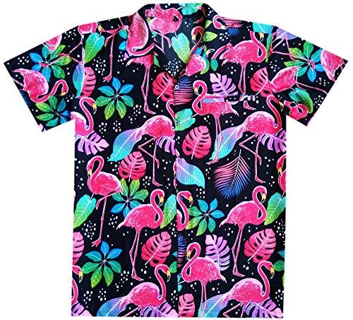 Hawaiian Shirts for Men Button Down Casual Couple Dress Flamingo Black L -