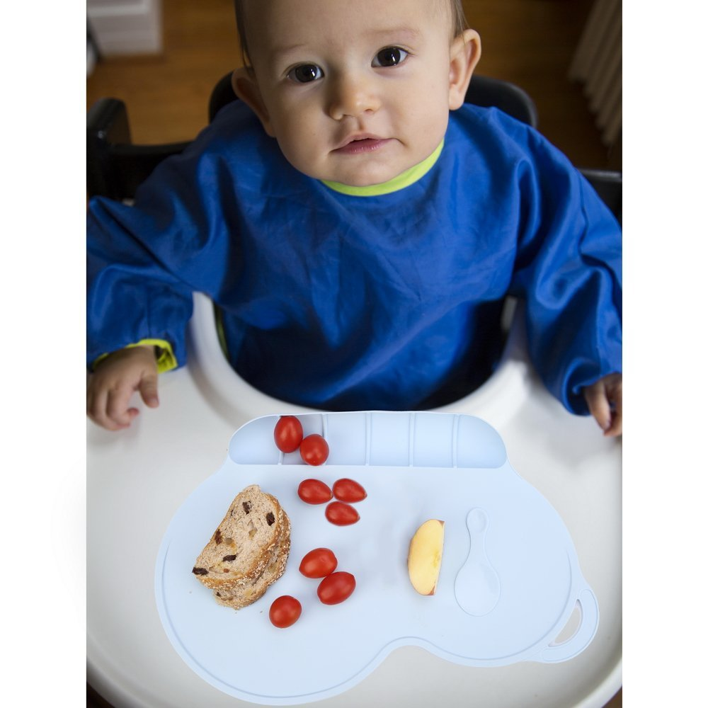 Itian Baby Portable Antibacterial Waterproof Food Grade Silicone Placemat Baby Diner Mat (Blue)
