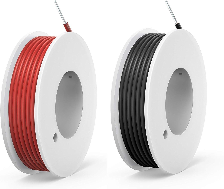 NorthPada 22 AWG 0,3 mm/² Elektronik Elektrische Draht Kit Solide PVC Verzinntes Kupfer Kabel 2 Farbe Spule Niederspannung 2 x 9 Meter