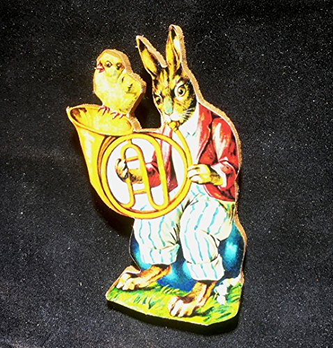 Rabbit Musician, Handcrafted Wood, Easter Ornament, Music Teacher Gift, Antique Postcard, Hostess Gift, Basket, Magnet, French Horn