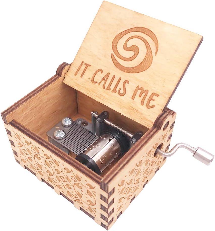 Caja de música de madera, tallada a mano, con el tema de la película Vaiana: Amazon.es: Hogar