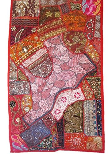 Beaded Tapestry Wall Hanging Decorations for Living Room Bedroom Boho Patchwork Bohemian Indian Vintage Sari Handmade Embroidered Sequin Centerpiece 30