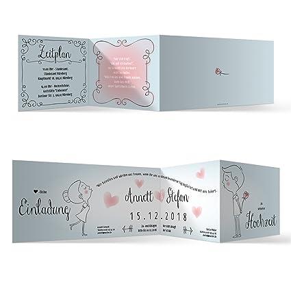 5 passende Umschläge Lustige Hochzeitseinladungen 5 Hochzeitskarten