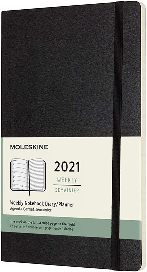 """""""Moleskine 12 Month 2021 Weekly Planner, Soft Cover, Large (5"""""""" x 8.25"""""""") Black"""" (DSB12WN3Y20)"""