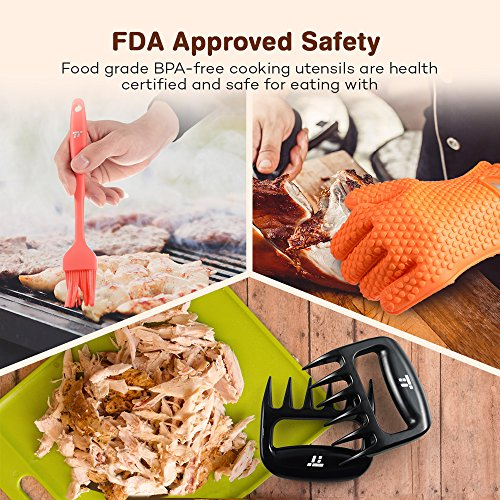 BBQ Gloves Heat Resistant, TaoTronics Meat Shredder Silicone and BBQ Brush, Grill Accessories, Perfect for Shredding Smoked Meat & Pulled Pork, Dishwasher Safe, FDA Approved by TaoTronics (Image #1)