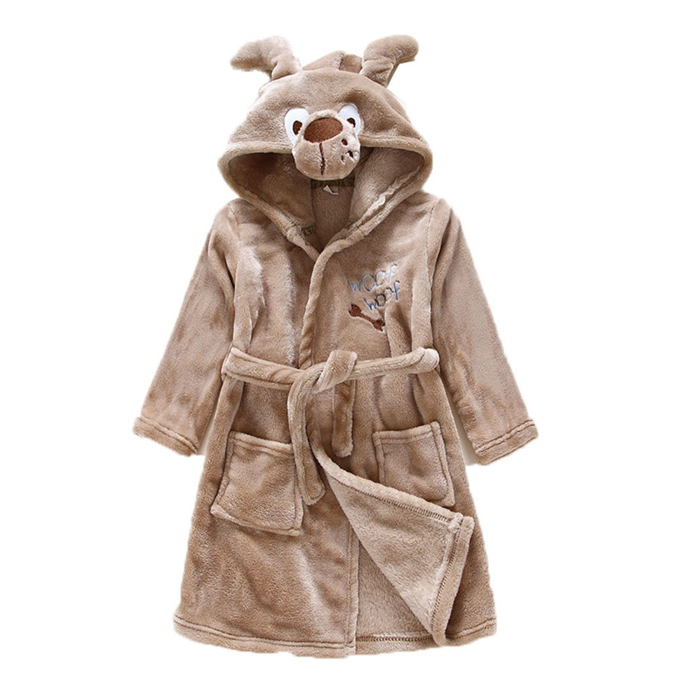 Girls Kids Warm Bathrobes Pajamas Robes Hooded Cartoon Coral Fleece Sleepwear Brown Puppy Dog,3t(2-3 years)