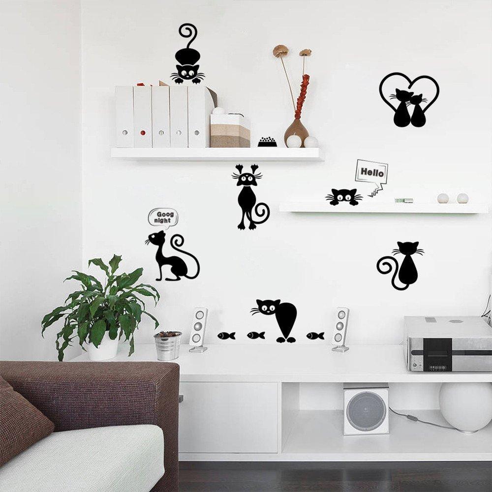 SOMESUN Lovely Cat Light Switch Adesivi murali Decorazioni per la casa Animali del Fumetto Decalcomania da Muro Art Wall Art Aereo portafoto Carta da Parati Adesiva (Nero-1, Free)