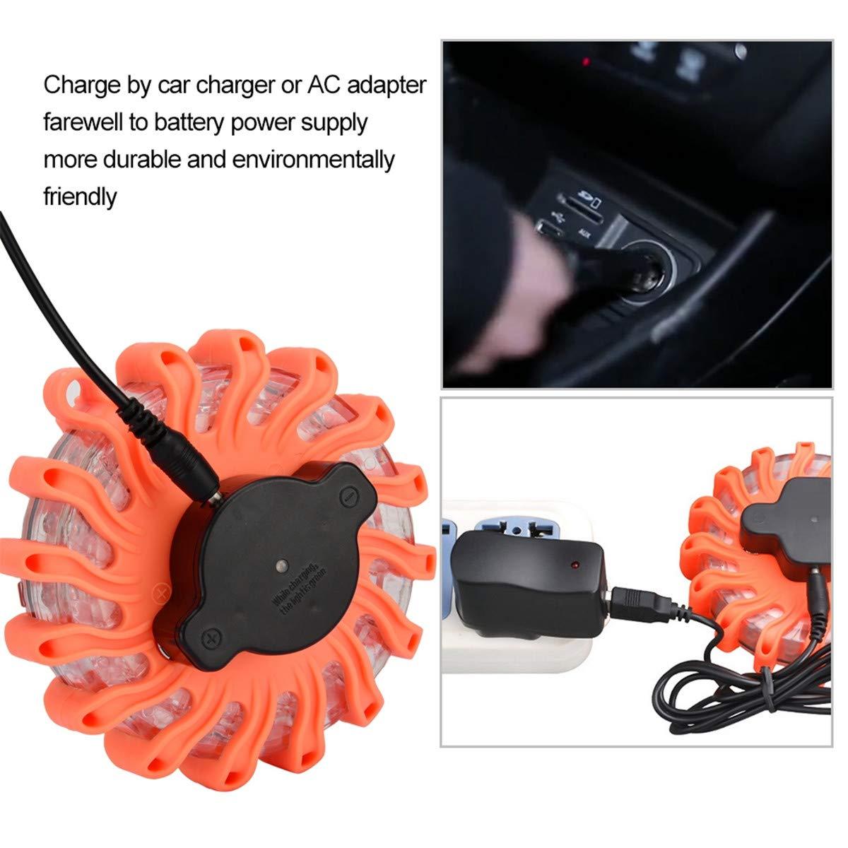 Amber Rechargeable LED Road Flare 1 Pack LED Roadside Warning Light Flashing Safety Emergency Light 100-240V Plug