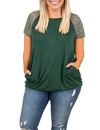 63500b46 Womens Tops Plus Size Raglan Shirt Short Sleeve 3/4 Sleeve Striped Crew  Neck Tshirt Tunic with Pockets at Amazon Women's Clothing store:
