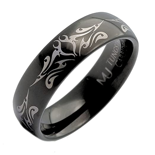 6mm Black Plated Tungsten Carbide Tribal Design Wedding Band Ring Size 7