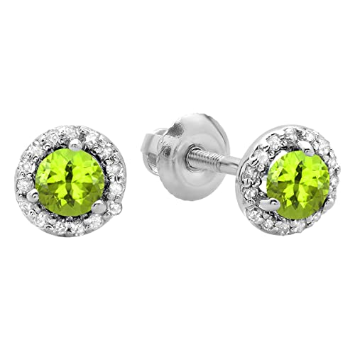Dazzlingrock Collection 10K Ladies Halo Style Stud Earrings, White Gold