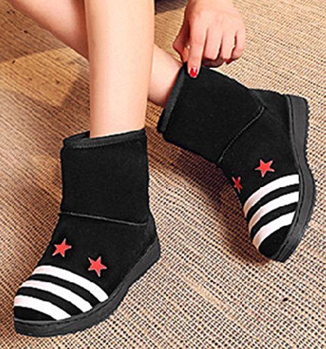 Suede Faux Faux Ankle Winter Fur Casual Women's Lined Boots Black Flat IDIFU Snow Booties High Fully wxIaYq